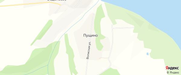 Карта деревни Пущино в Чувашии с улицами и номерами домов