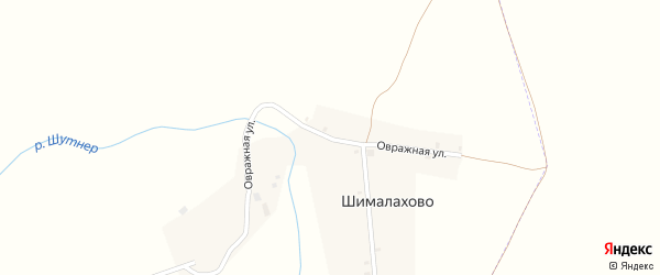 Овражная улица на карте деревни Шималахово с номерами домов