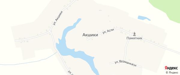 Улица Акшики на карте деревни Акшики с номерами домов
