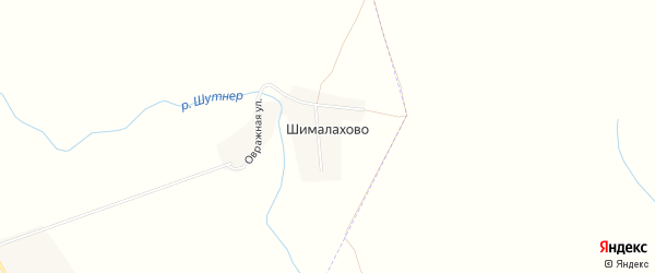 Карта деревни Шималахово в Чувашии с улицами и номерами домов