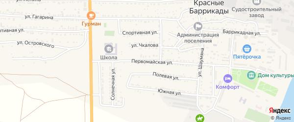 Первомайская улица на карте поселка Красные Баррикады с номерами домов