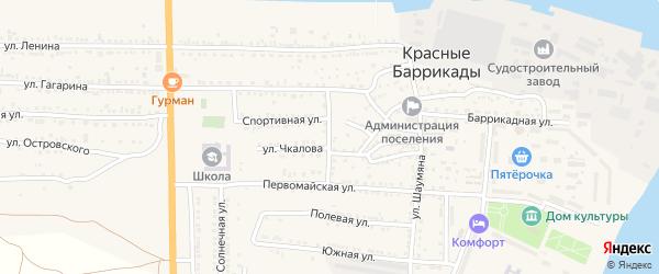 Улица Калинина на карте поселка Красные Баррикады с номерами домов