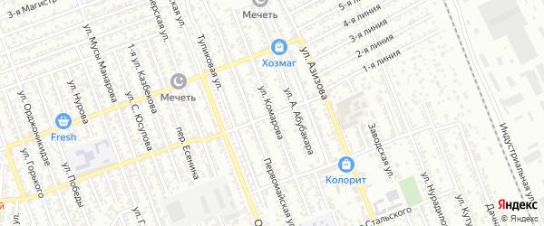 Улица Комарова на карте Избербаша с номерами домов