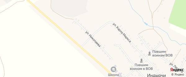 Улица Николаева на карте деревни Индырч с номерами домов