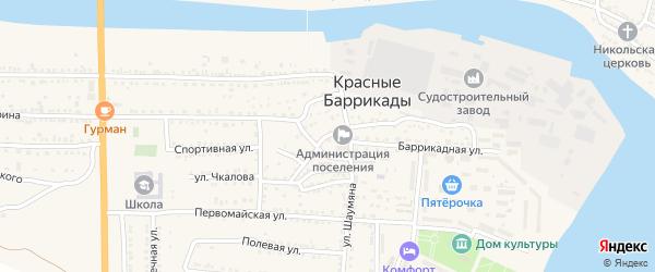 Улица Чкалова на карте поселка Красные Баррикады с номерами домов