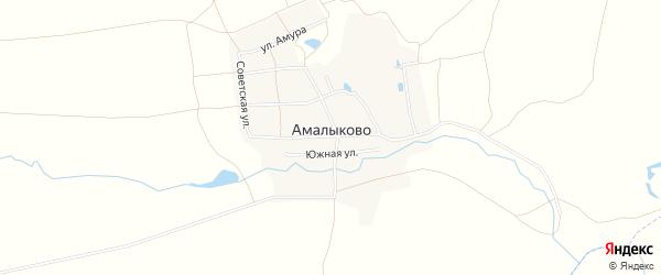 Карта деревни Амалыково в Чувашии с улицами и номерами домов