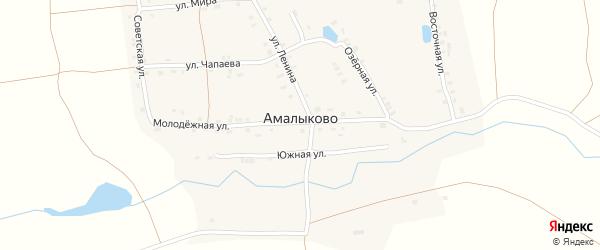 Новоюжная улица на карте деревни Амалыково с номерами домов
