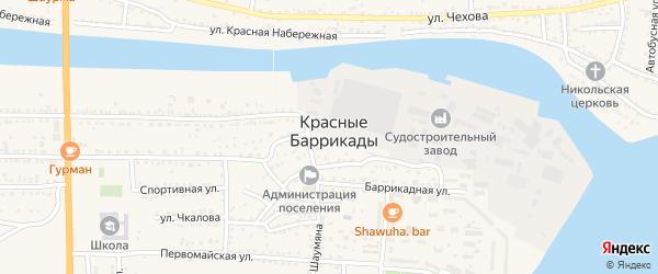 Торговая площадь на карте поселка Красные Баррикады с номерами домов