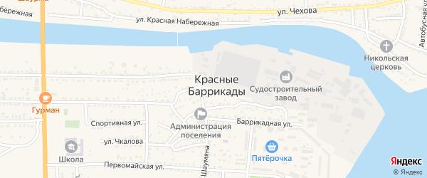 Улица Мира на карте поселка Красные Баррикады с номерами домов