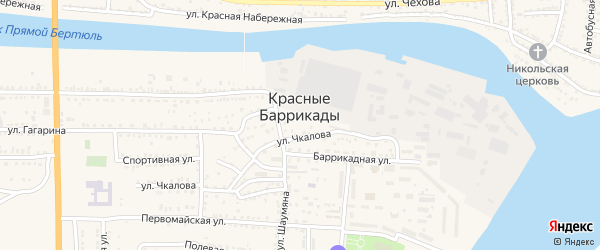 Красный Набережный переулок на карте поселка Красные Баррикады с номерами домов