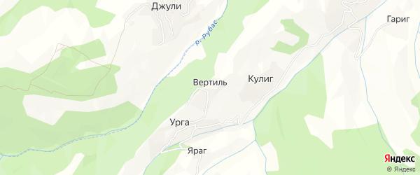 Карта села Вертила в Дагестане с улицами и номерами домов