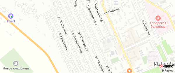 Улица Казбекова на карте Избербаша с номерами домов
