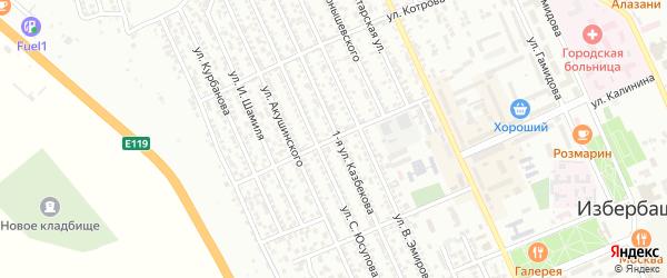 Улица 60 лет Дагестана на карте Избербаша с номерами домов