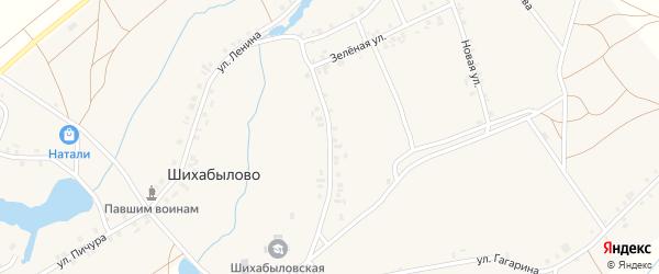 Зеленая улица на карте деревни Шихабылово с номерами домов