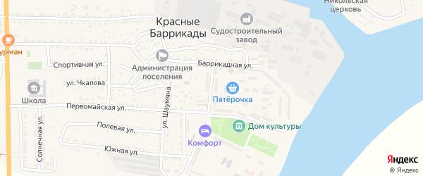 Улица 50 лет Октября на карте поселка Красные Баррикады с номерами домов