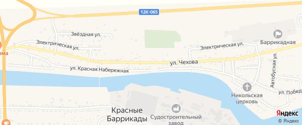 Улица Чехова на карте поселка Красные Баррикады с номерами домов