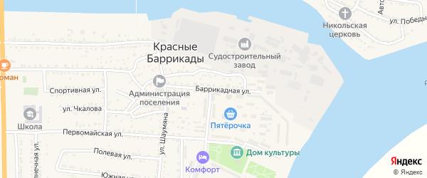 Баррикадная улица на карте поселка Красные Баррикады с номерами домов