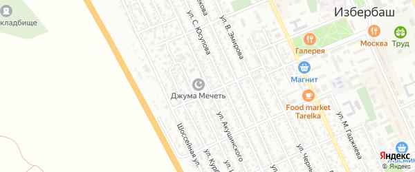 Улица Акушинского на карте Избербаша с номерами домов