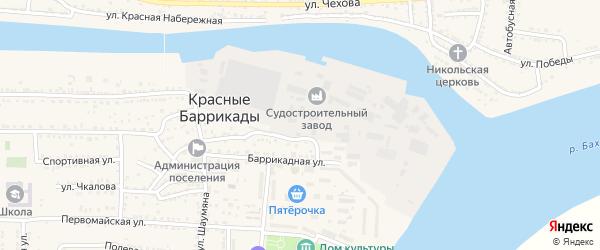 Рабочая улица на карте поселка Красные Баррикады с номерами домов