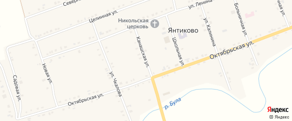 Канашская улица на карте села Янтиково с номерами домов