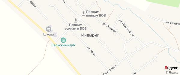 Заречный переулок на карте деревни Индырч с номерами домов