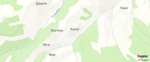 Карта села Кулига в Дагестане с улицами и номерами домов