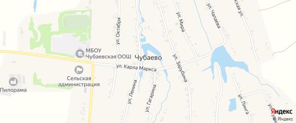 Улица Гагарина на карте деревни Чубаево с номерами домов
