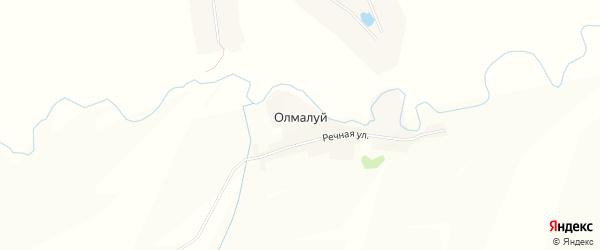 Карта деревни Олмалуя в Чувашии с улицами и номерами домов