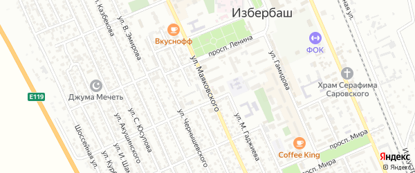 Улица Маяковского на карте Избербаша с номерами домов