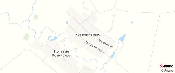 Карта деревни Уразмаметево в Чувашии с улицами и номерами домов