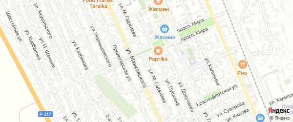 Улица М.Акаева на карте Избербаша с номерами домов