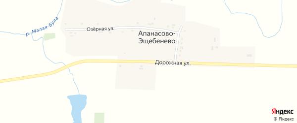 Дорожная улица на карте деревни Апанасово-Эщебенево с номерами домов