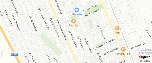 Улица Пушкина на карте Избербаша с номерами домов