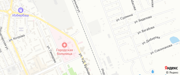 Индустриальная улица на карте Избербаша с номерами домов