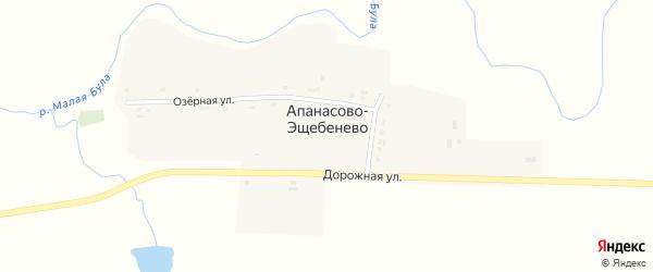 Восточная улица на карте деревни Апанасово-Эщебенево с номерами домов