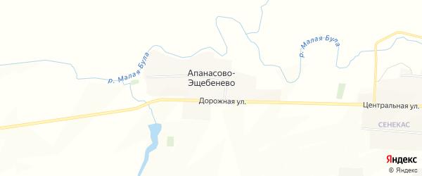Карта деревни Апанасово-Эщебенево в Чувашии с улицами и номерами домов