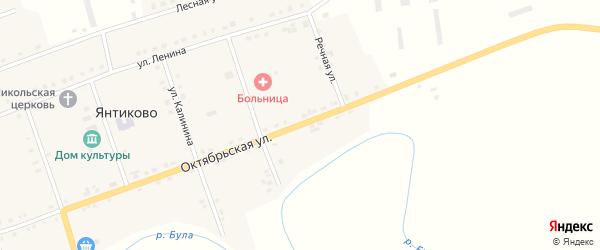 Октябрьская улица на карте села Янтиково с номерами домов
