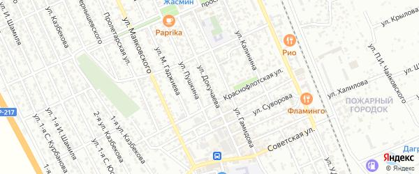 Улица Докучаева на карте Избербаша с номерами домов