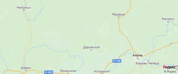 Карта Даровской района Кировской области с городами и населенными пунктами