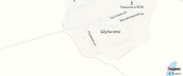 Полевая улица на карте деревни Шульгино с номерами домов