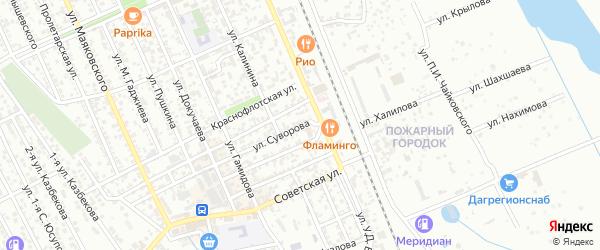 Улица Суворова на карте Избербаша с номерами домов
