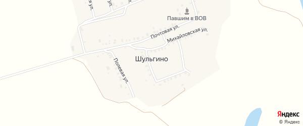 Солнечная улица на карте деревни Шульгино с номерами домов
