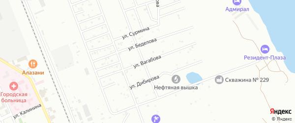 Улица Вагабова на карте Избербаша с номерами домов