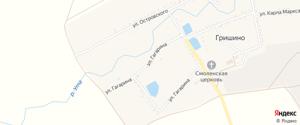 Улица Гагарина на карте села Гришино с номерами домов