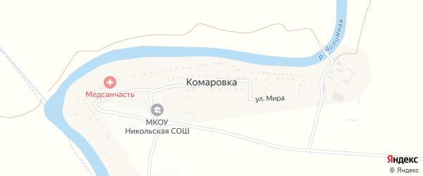 Набережная улица на карте села Комаровки с номерами домов
