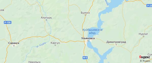 Карта Цильнинского района Ульяновской области с городами и населенными пунктами