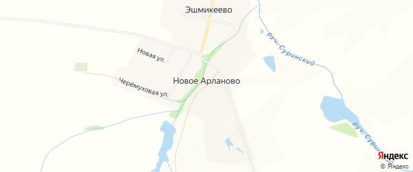 Карта деревни Новое Арланово в Чувашии с улицами и номерами домов