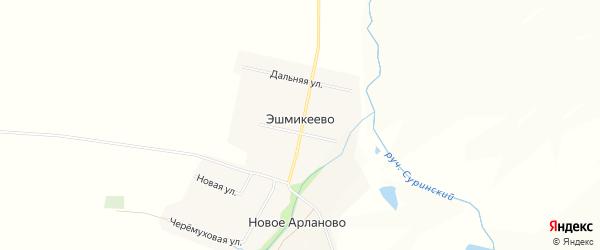 Карта села Эшмикеево в Чувашии с улицами и номерами домов