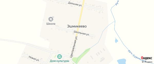 Центральная улица на карте села Эшмикеево с номерами домов