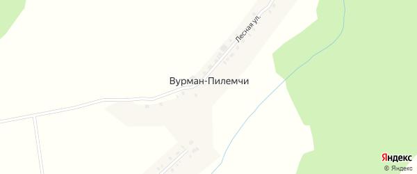Лесная улица на карте деревни Вурмана-Пилемчи с номерами домов